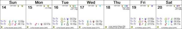 2016 W34 Calendar (Weekly)