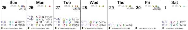 2016 W40 Calendar (Weekly)